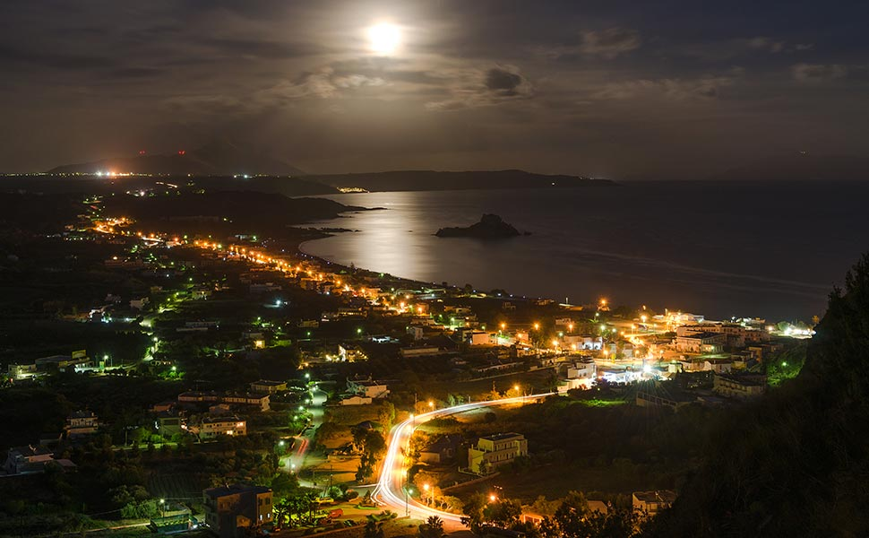 night view of kefalos bay