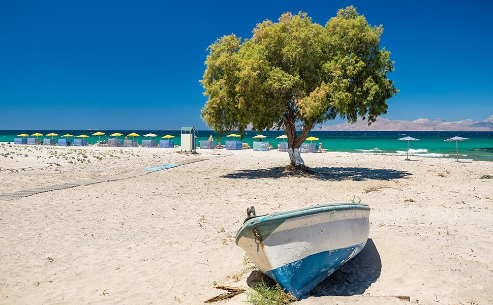 Large sandy beach at  Marmari, Kos
