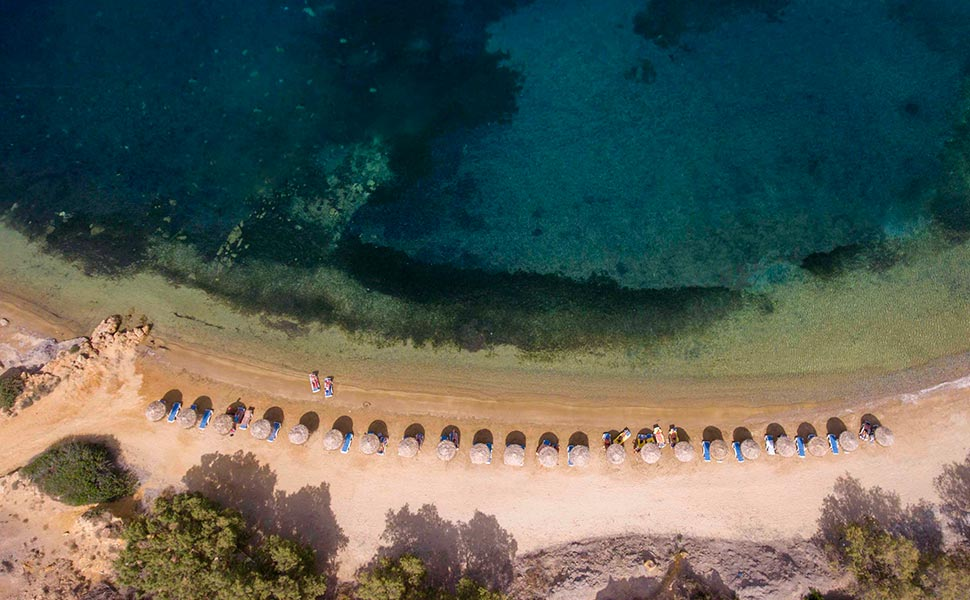 Aerial view from Limnionas Beach in Kefalos, Kos