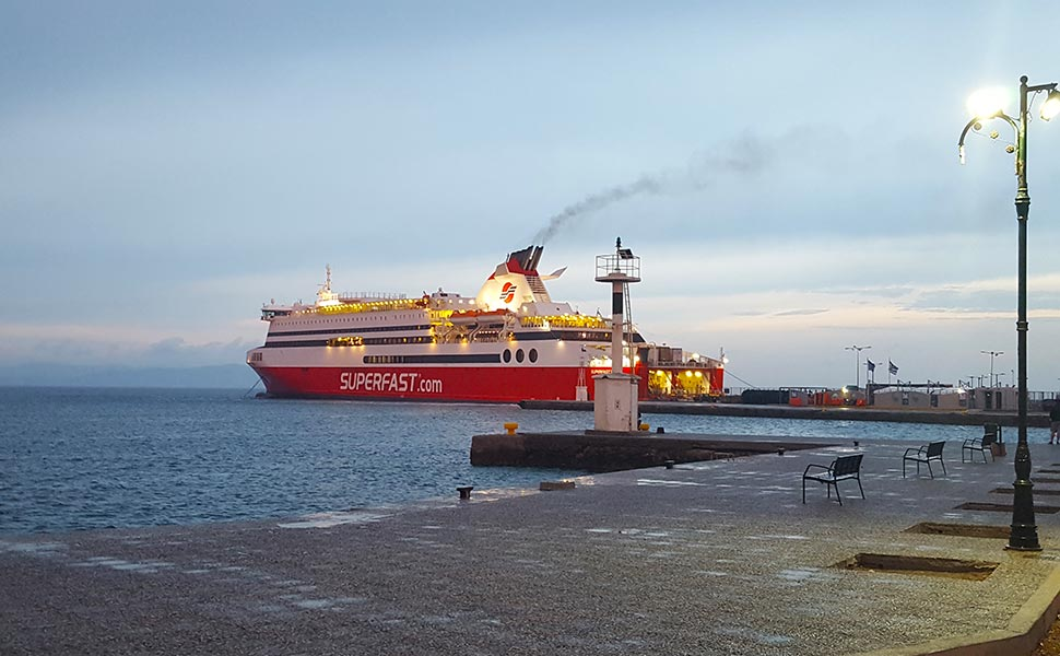 The superfast ship anchored at the pier of the port of Kos
