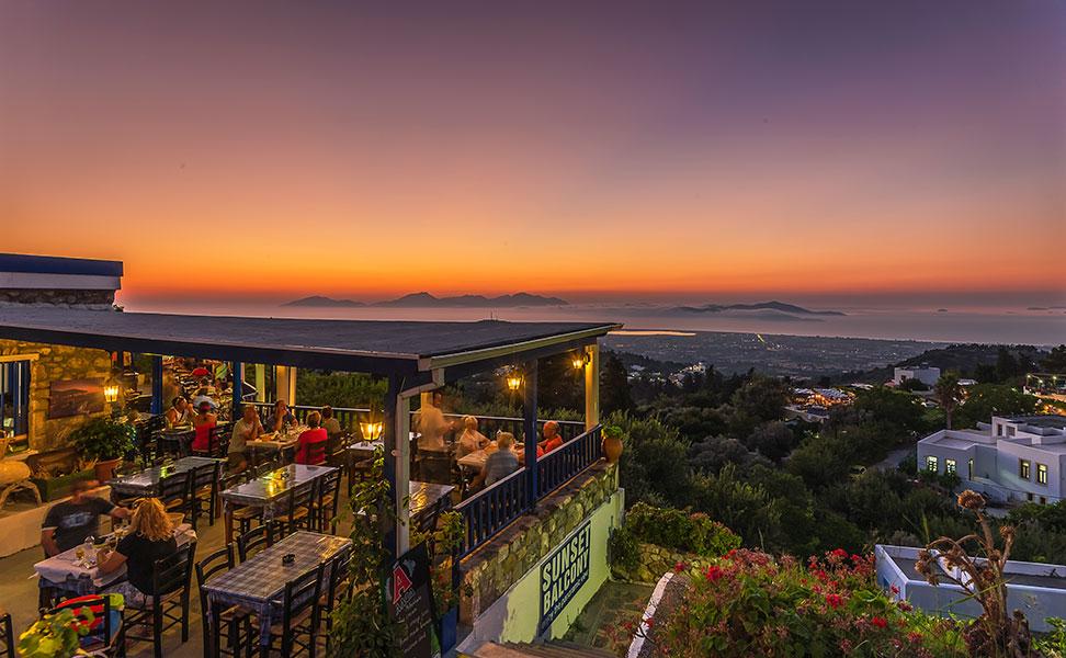 "Sunset as seen from ""Sunset Balcony"" Taverna in Zia Village, Kos Island"