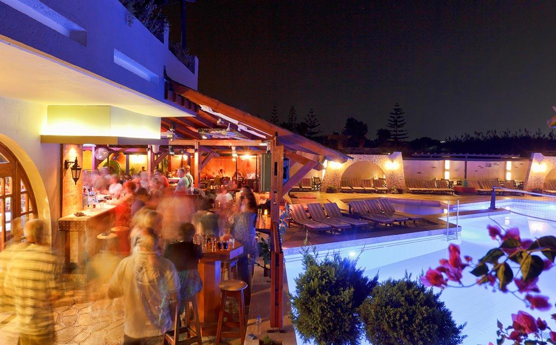 Night at pool bar of Gaia Garden Hotel
